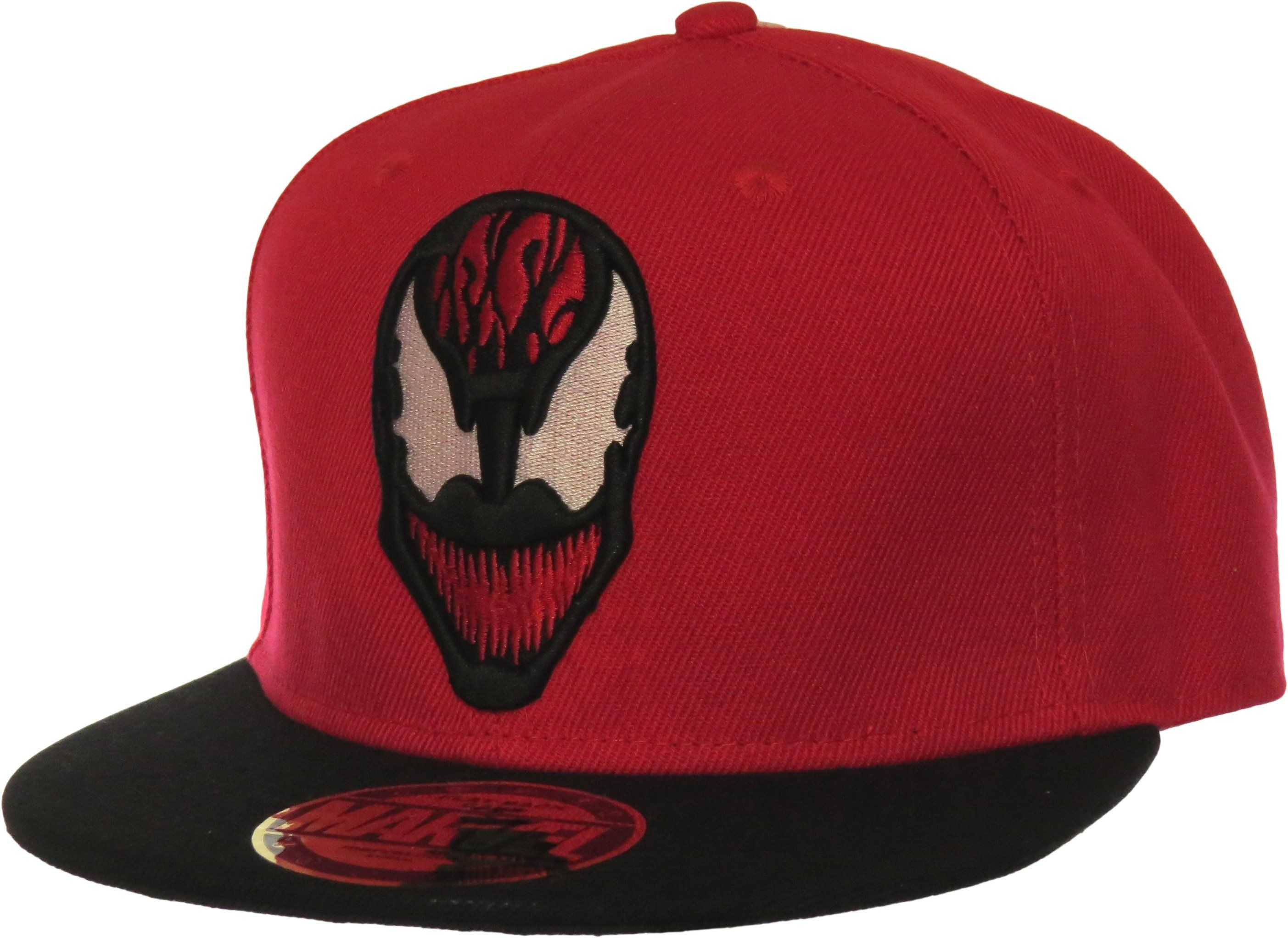 Marvel Comics Carnage Snapback Cap Red With The Carnage Front Image The Carnage Rear Logo And The Black Visor And Snap Black Snapback Snapback Snapback Cap