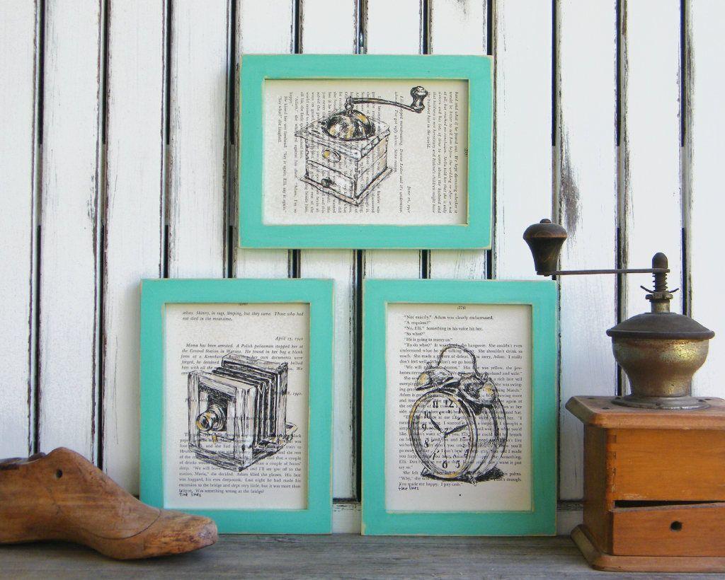 Antique Prints Set, Kitchen Decor, Rustic Framed Art, Dictionary ...