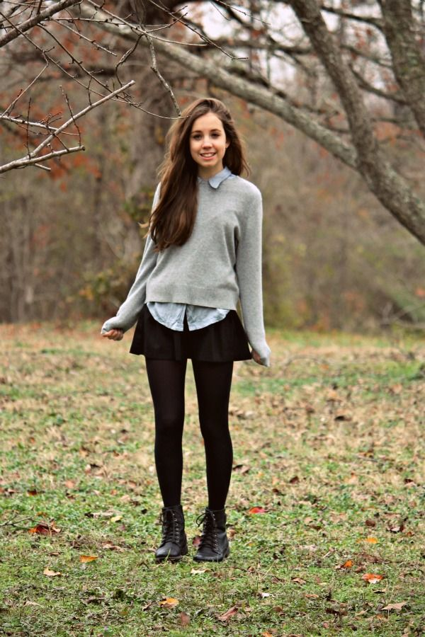 winter outfit: boots, skirt, button down, sweater...I literally wear this all time for school in the fall and winter
