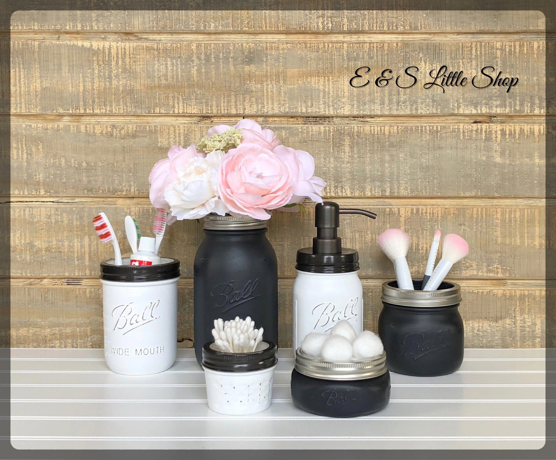 Farmhouse Mason Jar Bathroom Set Oil Rubbed Bronze Soap Dispenser