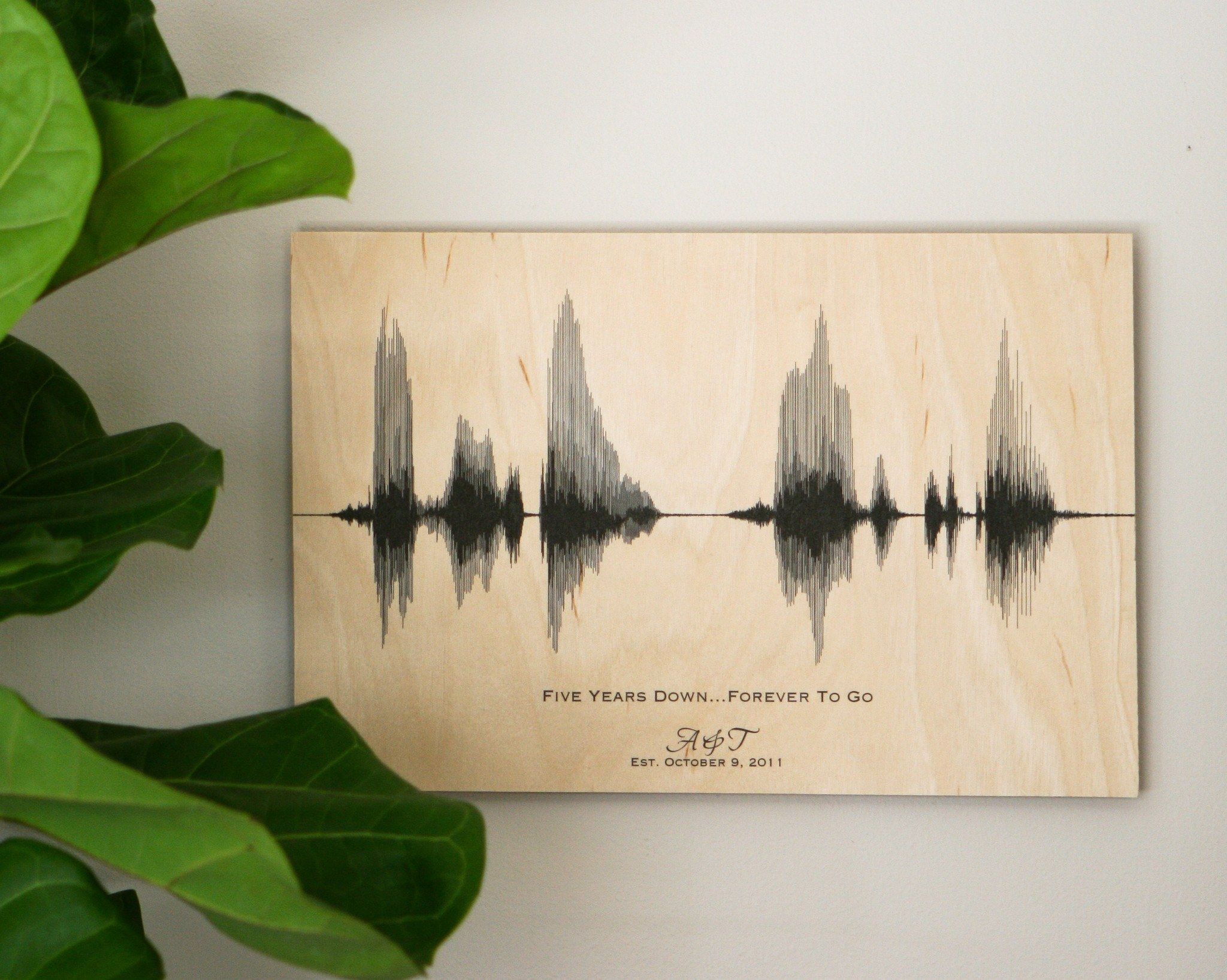 5 year wedding anniversary gifts on wood, personalized sound wave