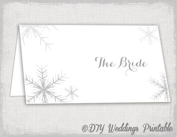 Winter Wedding Place Card Template Snowflakes Silver Gray Place