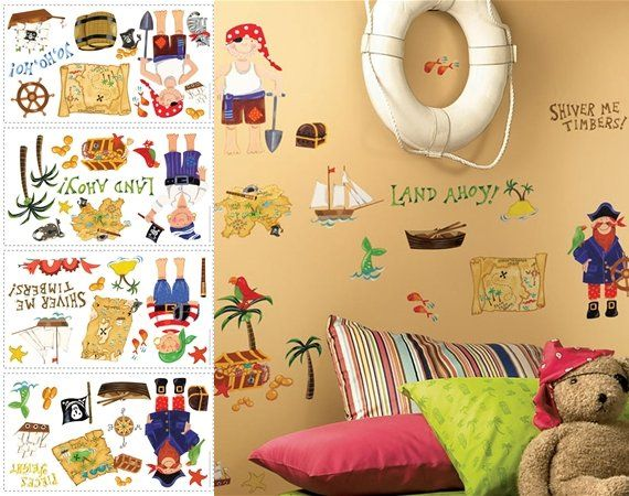 Pirates Treasure Hunt Peel And Stick Appliques   Wall Sticker Outlet