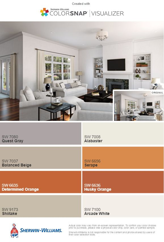 Living Room By Sherwin Williams Grey White Orange Burnt Orange