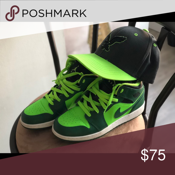 da916099d13 Air Jordan 1 Mid and American Eagle SnapBack Gorge green / Black-electric  green Jordan Shoes Sneakers