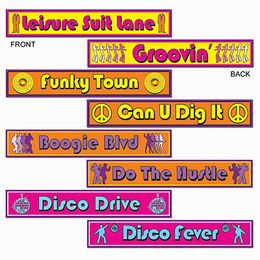 Disco Street Sign Cutouts - Decorations - Amols' Fiesta Party Supplies