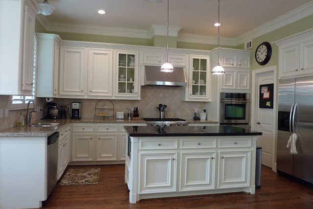 white cabinets with dark granite on island with different granite elsewhere mikey 39 s perfect. Black Bedroom Furniture Sets. Home Design Ideas