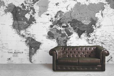 black and white detailed map mural