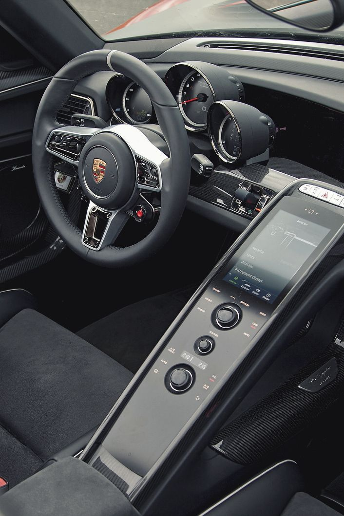 the most porsche 918 spyder black steering wheel interior race sport digital dashboard multifunction button interface