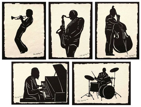 JAZZ GIANTS Papercuts - 5 Hand-Cut Silhouettes | Art | Paper