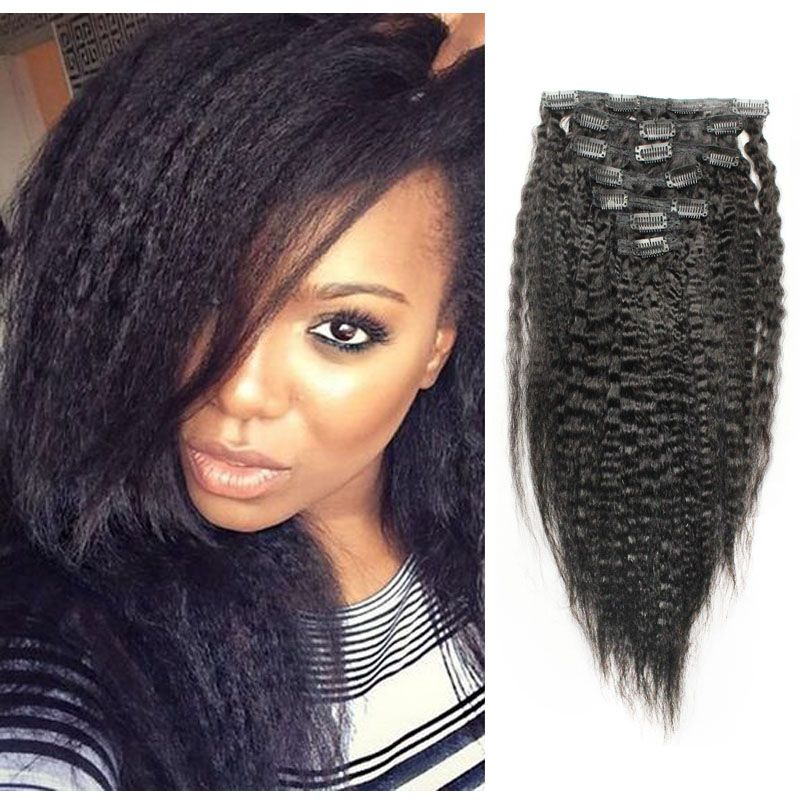 Kinky straight clip in human hair extensions indian virgin hair kinky straight clip in human hair extensions indian virgin hair african american clip ins 7pcs pmusecretfo Images