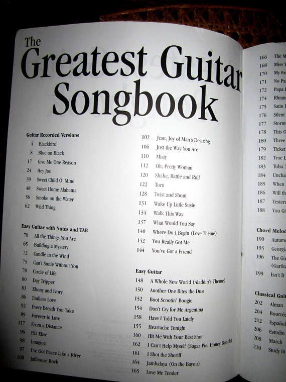 The Greatest Guitar Songbook Guitar Tablature Lyrics Guitar