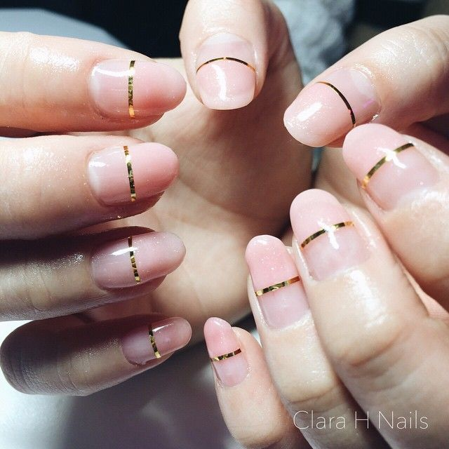 Nude Glitter Gold Stripe On Natural Nails Nail Art Time 30mins