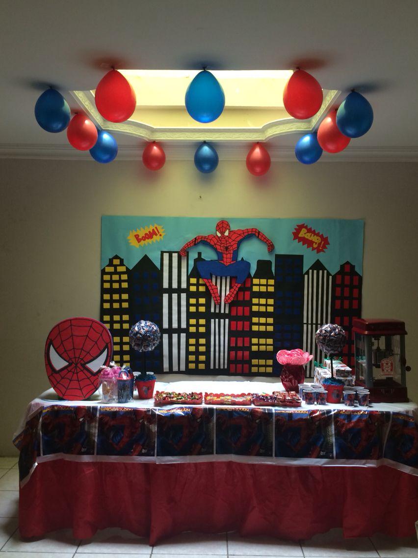 Decoracion Spiderman En 2019 Decoracion De Cumpleaños