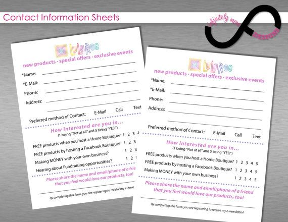 Lularoe Contact Info Form Lularoe Register To Win Sheet Lularoe