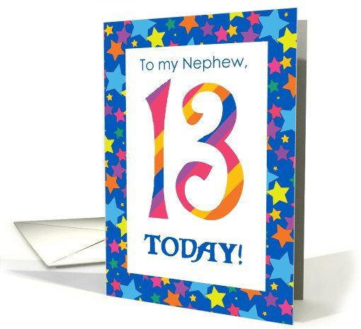 13th Birthday Card For Nephew, Stripes And Stars Card