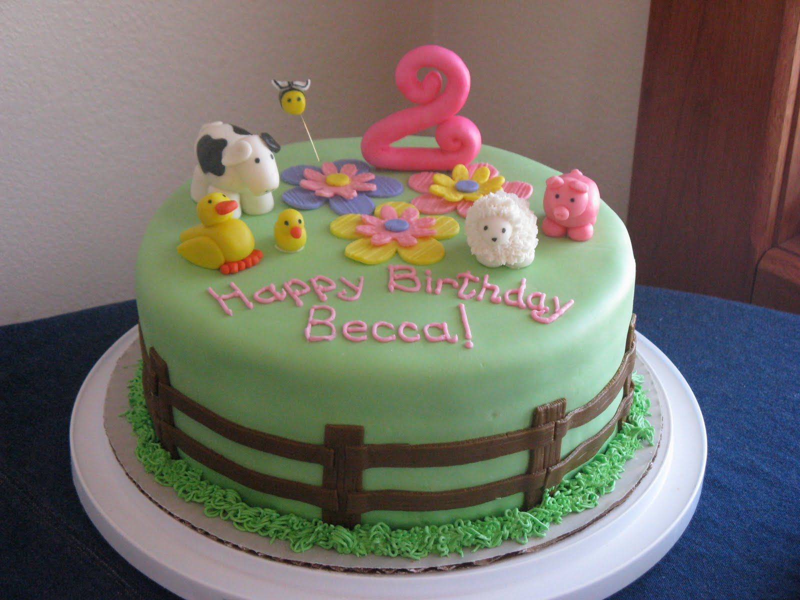 Cakebaby Farm Animal 2nd Birthday Cake