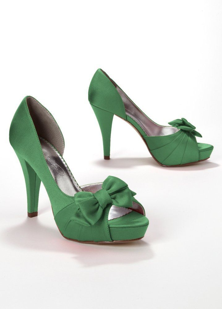 Lott Davids Bridal Satin Peep Toe Platform High Heel With Bow Style Maribelle Shoes