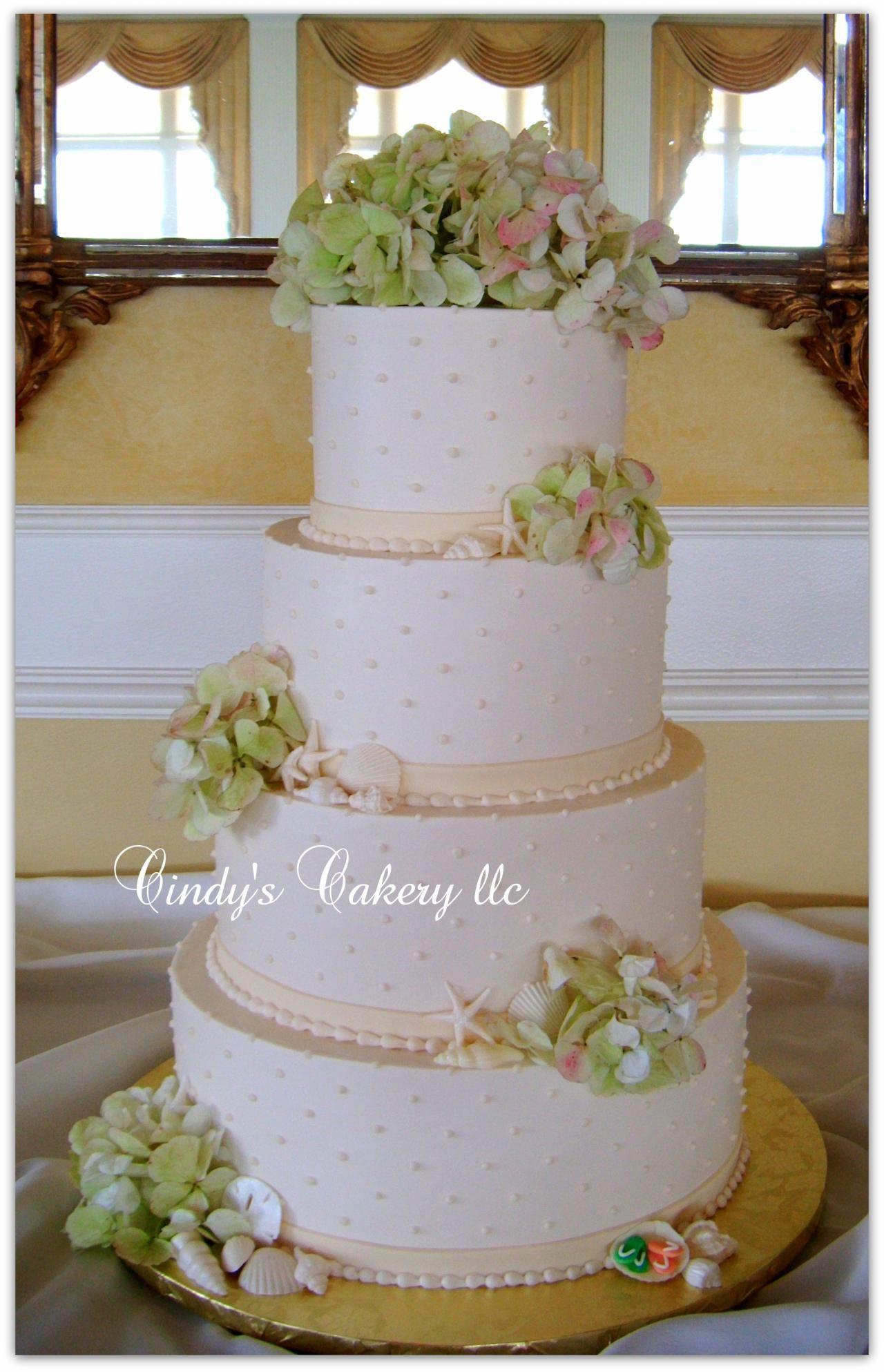 Cindy's Cakery // Buttercream swiss dots, flowers and shells elegant wedding cake with fresh hyrdrangeas//  www.cindyscakery.com // The Flower Cupboard // Two Rivers Country Club // Williamsburg Weddings