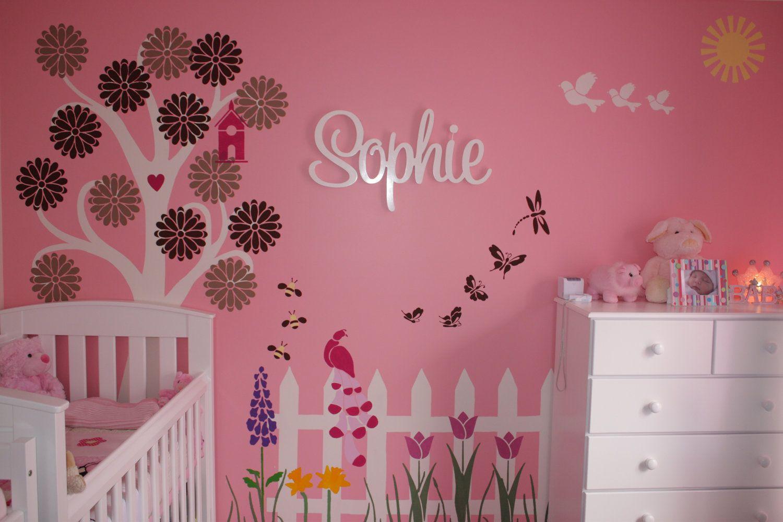 Flower Garden Wall Mural Stencil Kit For Girls Or Baby