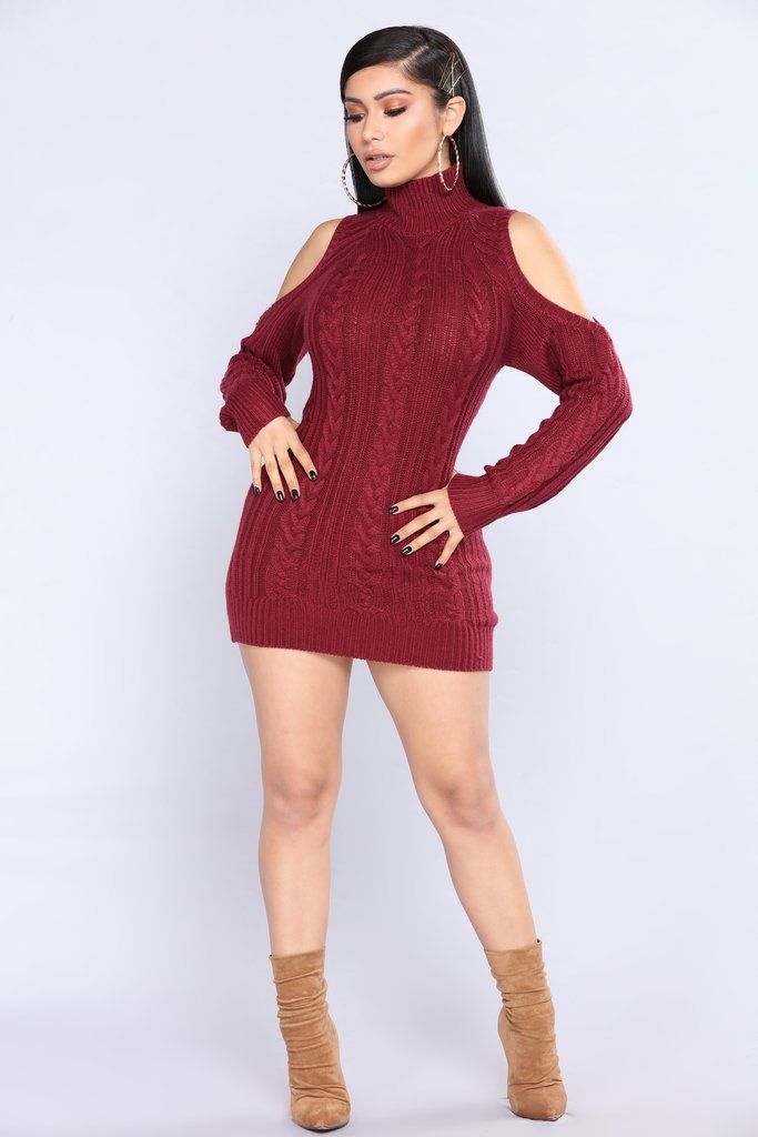 086acad397a Evanna Cold Shoulder Sweater - Burgundy