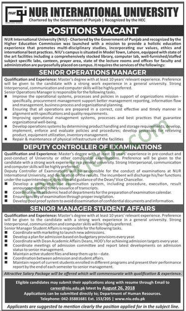 NUR International University Lahore Jobs 2018 Latest for Senior