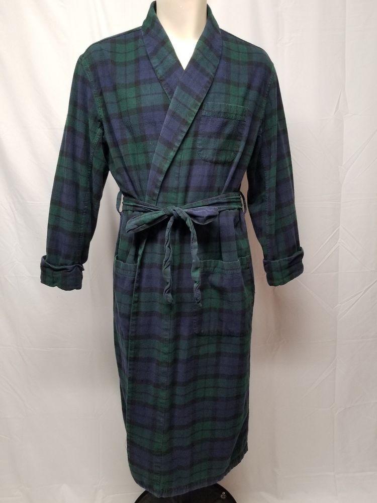 BROOKS BROTHERS Black Watch Tartan Plaid Cotton Flannel Robe Bathrobe Mens  L  BrooksBrothers  Robes 52a4f4d7d