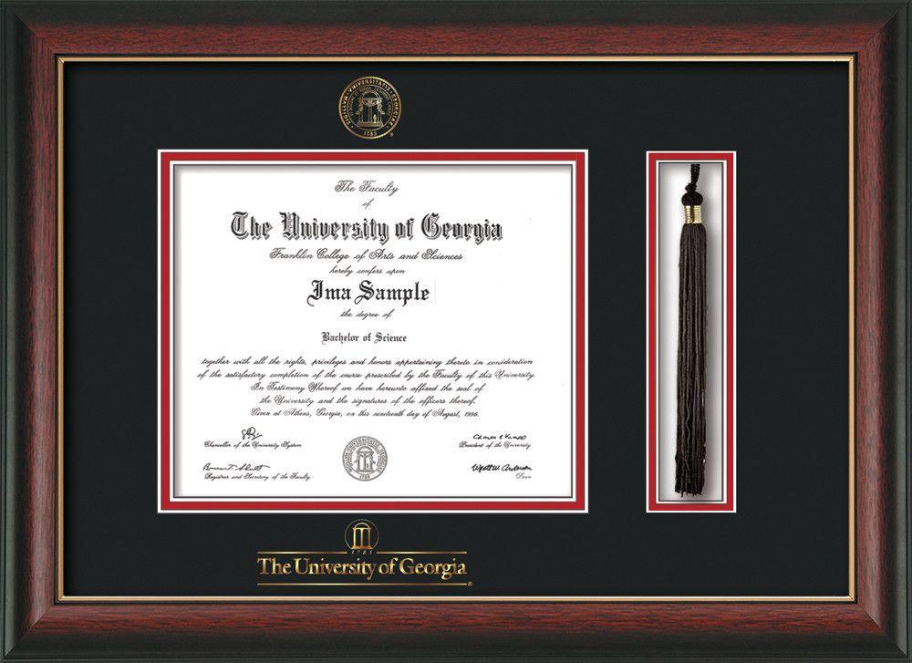 University Of Georgia Diploma Frame Rosewood Wgold Lip Wuga