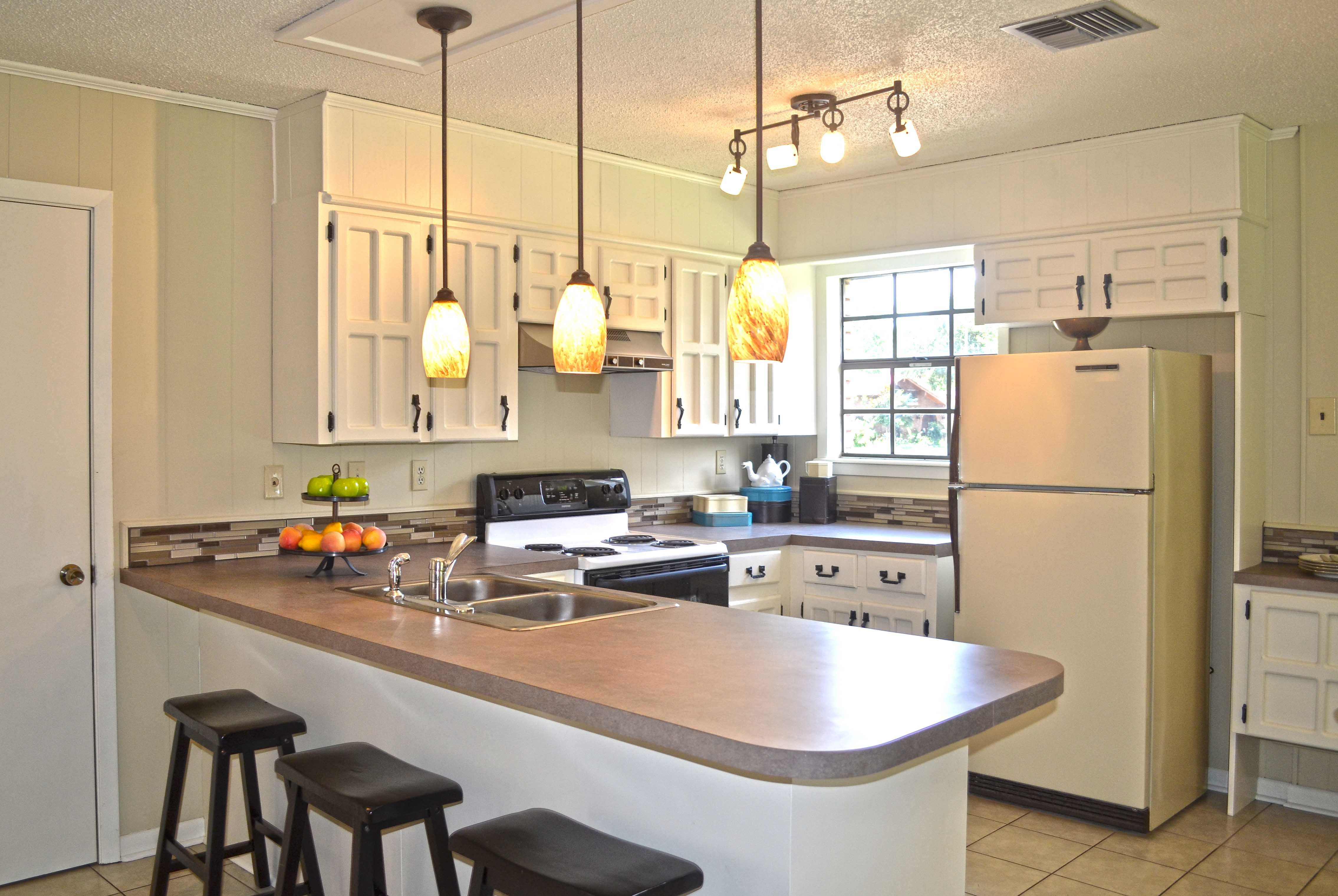 small modern open kitchen with breakfast counter Google