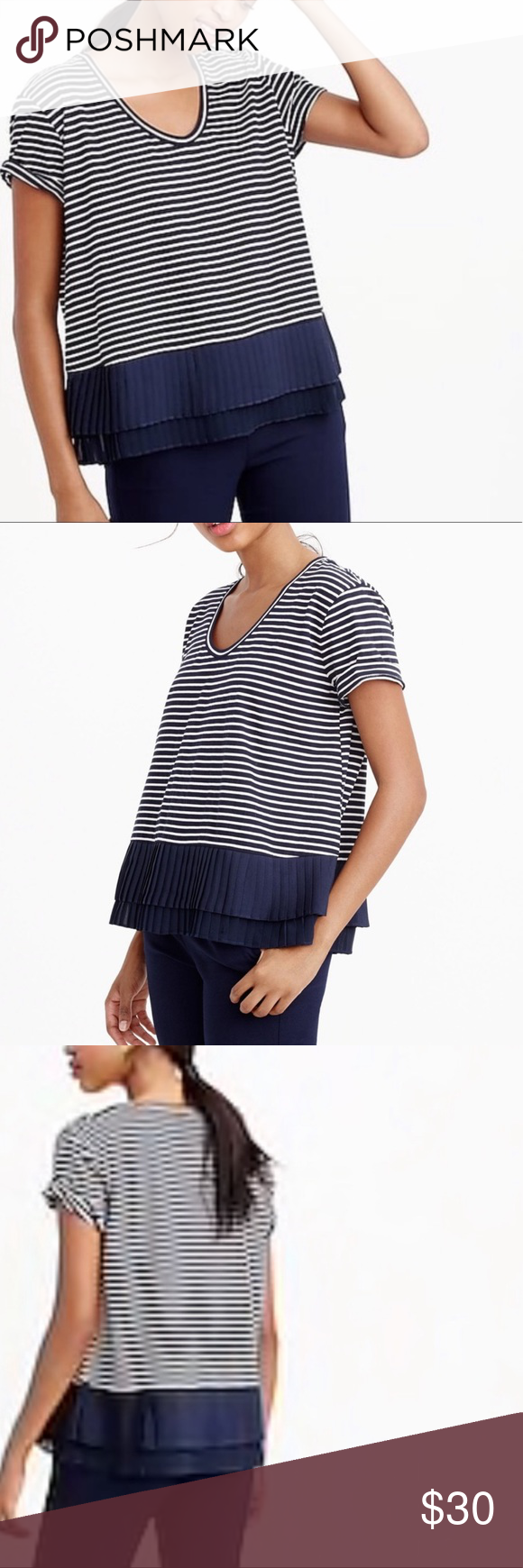 "756b1904 J. Crew Blue Striped Pleated Chiffon Hem T-shirt 25.5"" length 22.5"" armpit  to armpit. Blue and white striped. Pleated chiffon hem. Nautical preppy  feel."