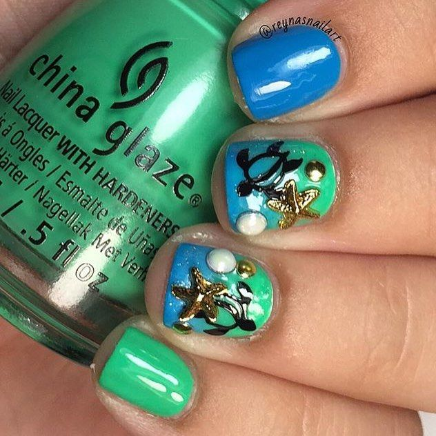 Fun in the Sun and fun in the Sea! Mani created by @reynasnailart  ~ Sea Turtle #NailVinyls www.snailvinyls.com