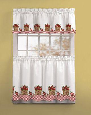 Apple Picking 3 Piece Kitchen Curtain Tier Set Kitchen Curtains Apple Kitchen Decor Kitchen Window Curtains