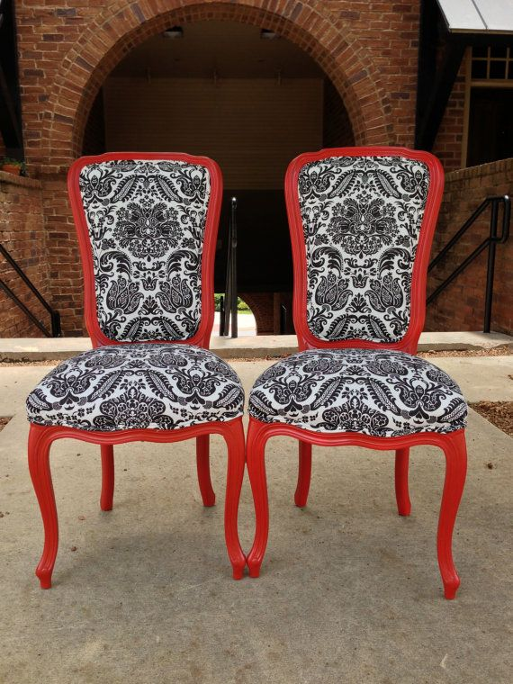 Pair French Accent Chairs Painted Satin Red Upholstered Black
