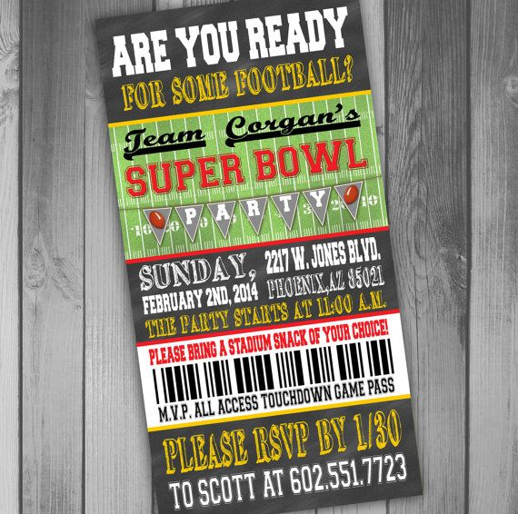 Superbowl Party Invitation Ticket Invitation By Claceydesign