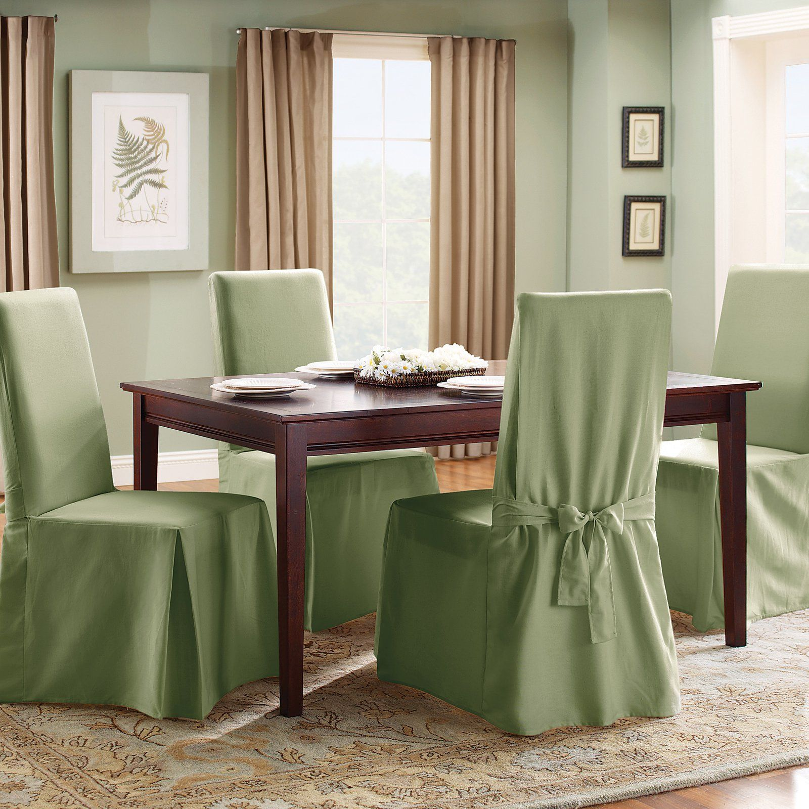 Enjoyable Sure Fit Cotton Duck Long Dining Room Chair Cover Sage Cjindustries Chair Design For Home Cjindustriesco