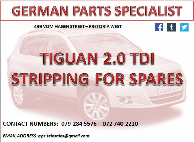 Tiguan 2 0 Tdi Stripping For Spares We Deliver In Gauteng And Make