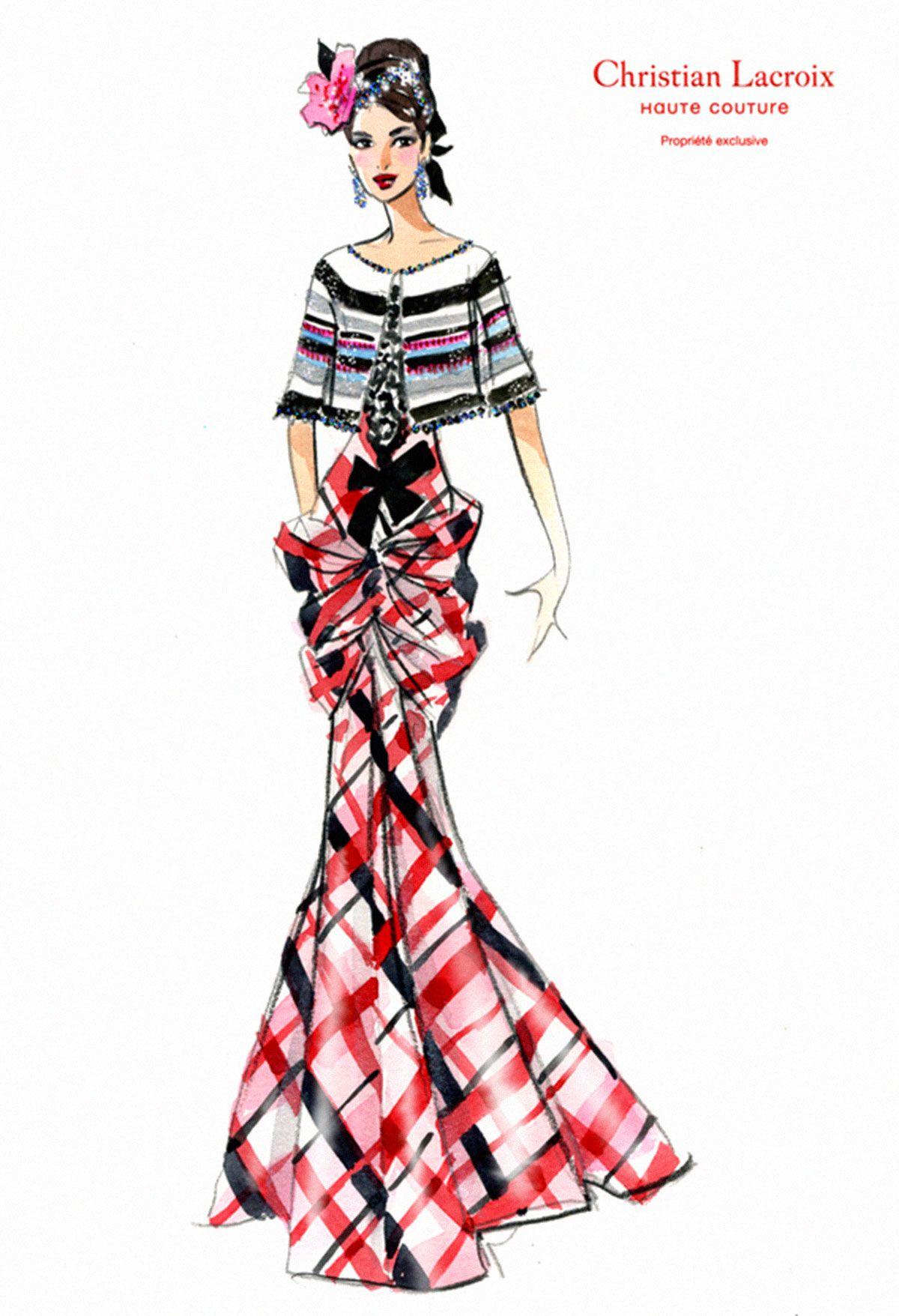 Lacroix croquis client le 6 fashion illustration - Dessin de couture ...