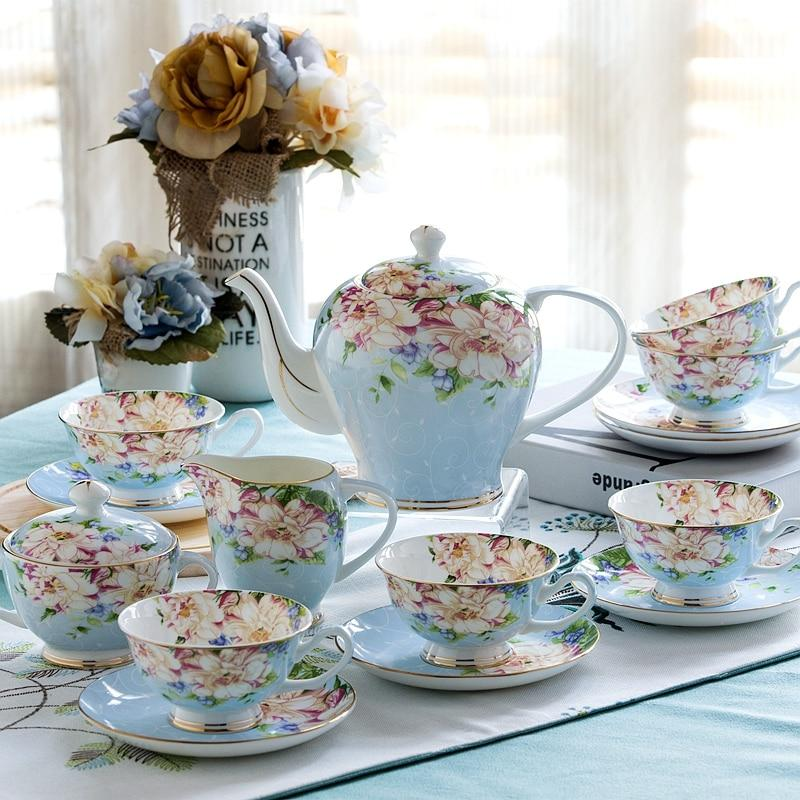 TEA FOR ONE TEAPOT VINTAGE STYLE FLORAL CHINA TEA SET TEACUPS CUPS AND SAUCERS