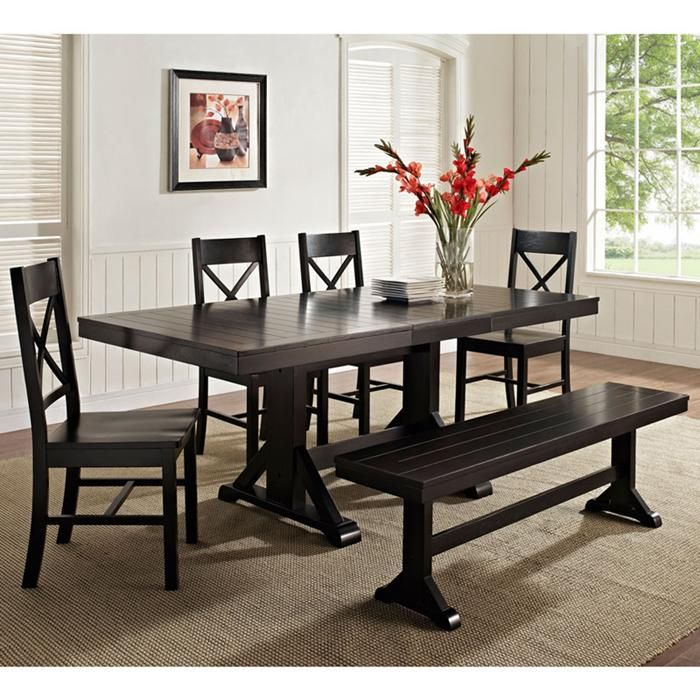 6 Piece Solid Wood Black Dining Set