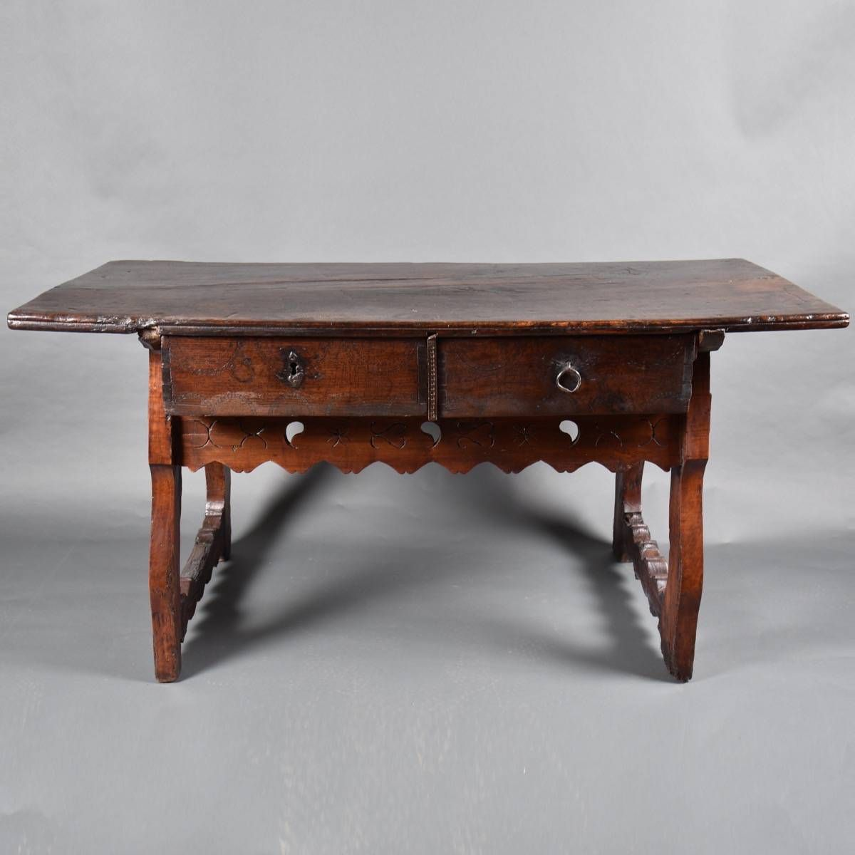 Rustic Spanish Table. 17th Century Charming Rustic Antique Spanish Table  With Two Frontal Drawers.