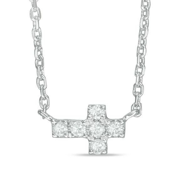 Zales Diamond Accent Sideways Cross Necklace in Sterling Silver (1 Name) pkP9Sa