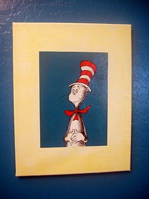 DIY Dr. Seuss wall art (book pages, canvas, and Modge Podge ...