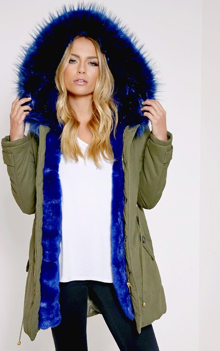 Blue Premium Faux Fur Lined ParkaChannel cosy and chic in this ...