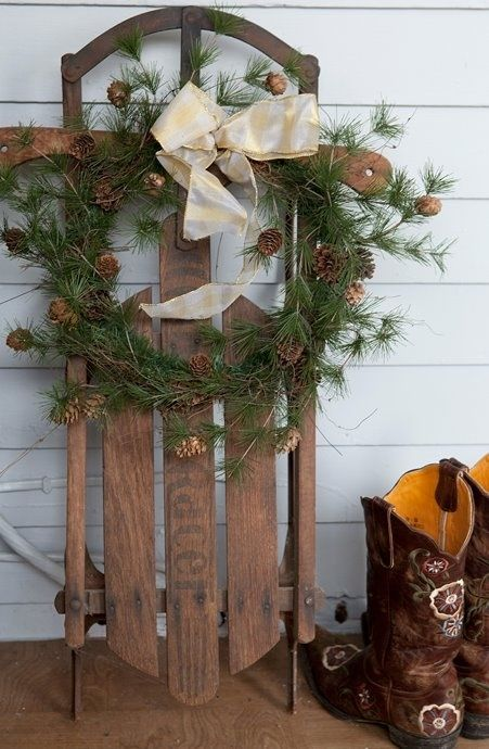 Sled and wreath on porch Outdoor Christmas decorations Pinterest