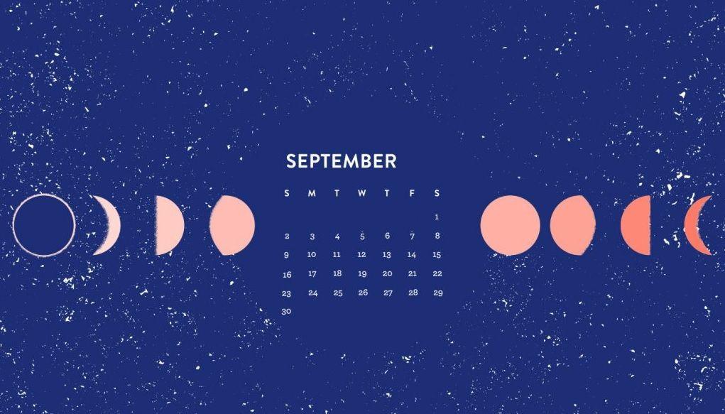 September 2018 Moon Calendar Wallpapers Calendar Wallpaper Desktop Calendar Cute Desktop Wallpaper