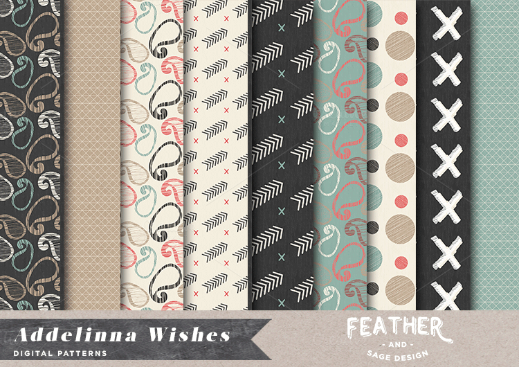 (Seamless) Addelinna Wishes Patterns by Feather & Sage Design Co on Creative Market