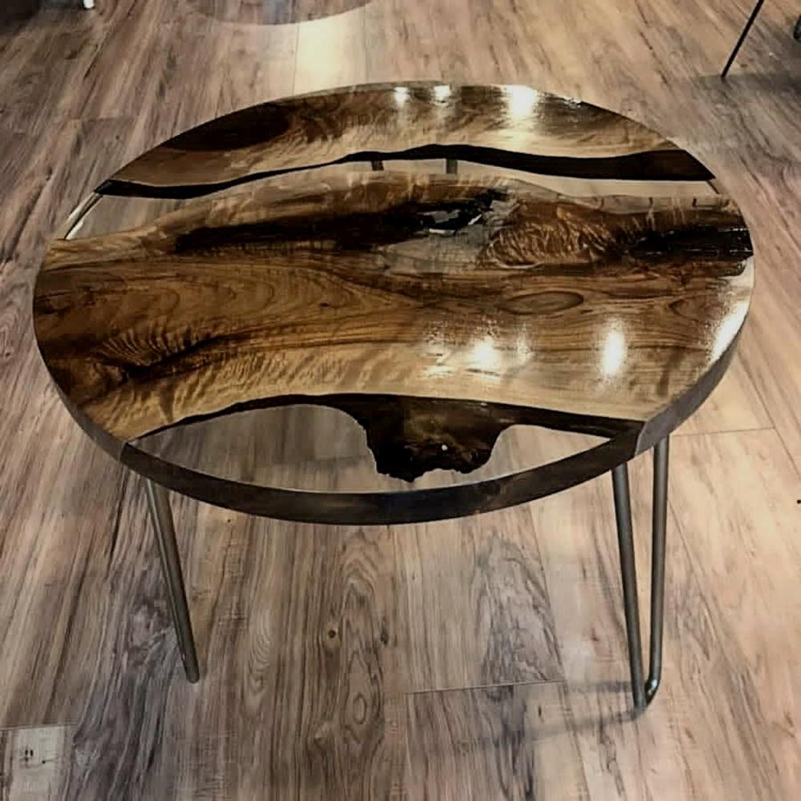 Walnut Round Tablewalnut Coffee Table Clear Epoxy Resin Etsy Resin Table Wood Table Design Epoxy Resin Table [ 1588 x 1588 Pixel ]