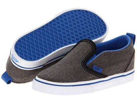 bb8bae4192 Vans Kids Slip-On V (Infant Toddler) (Herringbone) Black Strong Blue ...
