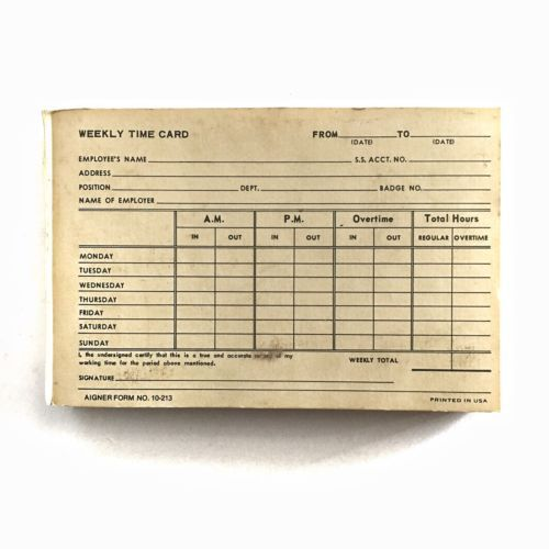 Vintage-FUTURA-FONT-WEEKLY-TIME-CARD-PAD-84-Sheets Scrapbook - time card