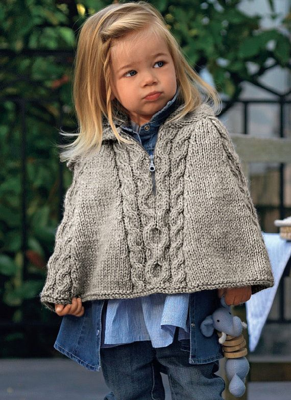 Childs Cable Cape, Poncho, Bulky, Knitting Pattern. PDF Instant ...
